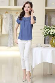 casual wear for women tomcarry women summer casual wear lace blouse blue tomcarry