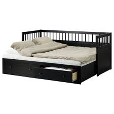 black wooden daybed with double storages and grey bedding set of