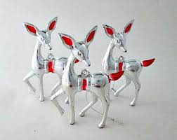 silver reindeer etsy