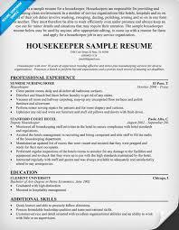 Resume Hotel Job by Housekeeping Resume Sample Berathen Com