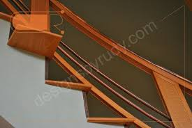 curved oak stairs with copper railing and trim designs by rudy