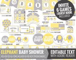 yellow and gray baby shower decorations yellow elephant baby shower decorations printable instant