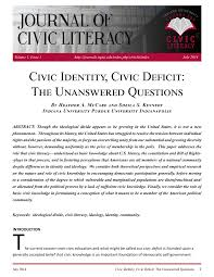 civic identity civic deficit the unanswered questions