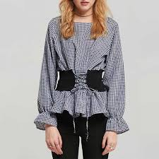 houndstooth blouse chele lace up checkered houndstooth plaid blouse blue in clothing