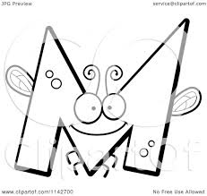cartoon clipart of a black and white letter m bug vector