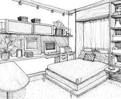 home design drawing drawn bedroom interior designer pencil and in color drawn