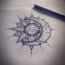 floral sun and moon tattoo design