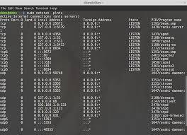 view open ports linux netstat command linux netstat command linux