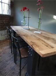 Table Repas Style Industriel by Grande Table Industrielle Plateau Chene Massif Pietement Metal