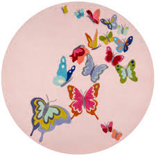 Kids Pink Rugs by Momeni Lil Mo Whimsy Butterfly Pink 5 Ft X 5 Ft Indoor Kids