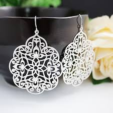 filigree earrings matte rhodium plated style modern filigree earrings