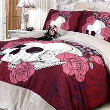 Girls Queen Size Bedding Sets by Maroon Rose Red And White Skull Print With Victorian Rose And