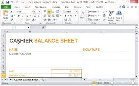 Opening Day Balance Sheet Template Free Cashier Balance Sheet Template For Excel 2013