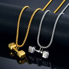 stainless gold necklace images Gold necklace with dumbbell pendant vintage jewelry men gold color jpg
