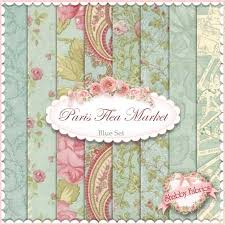 Shabby Chic Quilting Fabric by 3 Sisters For Moda Paris Flea Market Collection In Blue Blue