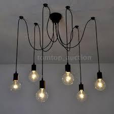 e27 6 arm pendant ceiling light fixture adjustable chandelier 1 7m