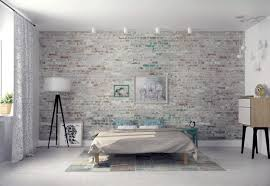 Modern Brick Wall by Modern Bedroom Design With Exposed Gray Brick Wall Ideas