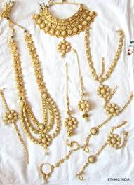 buy gold plated pearlbridal dulhan necklace earring tika panja set