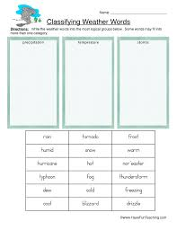 classifying weather worksheet precipitation temperature and storms