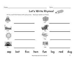 kindergarten first grade rhyming words worksheets write a rhyme 8