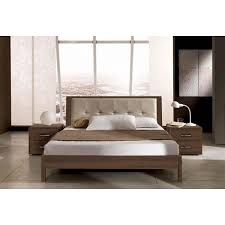 Leather Headboard Platform Bed Real Wood Walnut Finish Italian Platform Bed With Leather