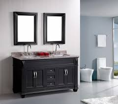 gray wall paitn black mirror wooden frame granite coutnertop