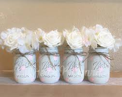 pink and gold baby shower centerpieces mason jar