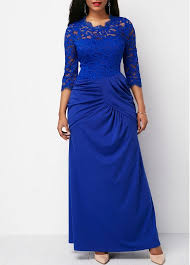 royal blue dress royal blue lace yoke keyhole back maxi dress rosewe usd 35 76