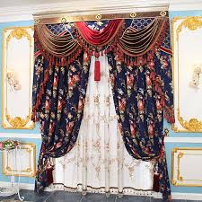 Royal Blue Curtains Luxury Chenille Peony Royal Blue Leaf Floral Curtains
