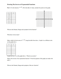 drawing the inverse of exponential functions worksheet lesson
