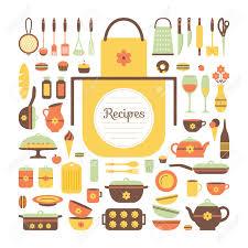 objets de cuisine réglez d ustensiles de cuisine et de la nourriture des objets