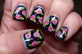 amber did it gel color by opi russian navy with flower nail art