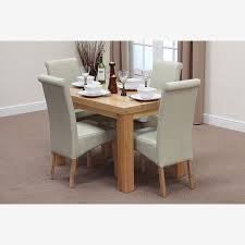fresco 4ft solid oak dining table 4 cream leather scroll chairs