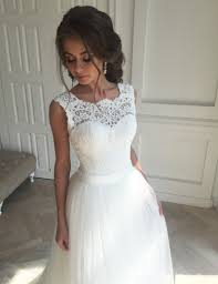lace top wedding dress buy decent scalloped sweep open back wedding dress with lace