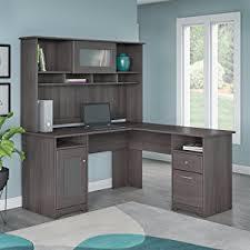 Hutch Live Stream Amazon Com Cabot L Shaped Desk With Hutch In Heather Gray
