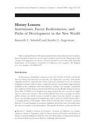history lessons institutions factor endowments and paths of
