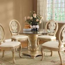 Antique White Wash Dining Set Creditrestoreus - Round pedestal dining table in antique white