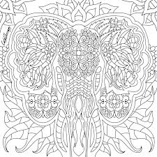 elephant coloring page to color with colortherapyapp