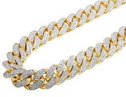 yellow necklace images Solid 14k yellow gold heavy miami cuban link kilo diamond chain jpg