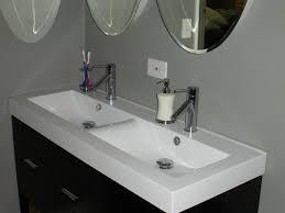 trough sink bathroom double faucet bathroom design