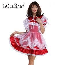 Cross Dressing Halloween Costume Aliexpress Buy Sissy Red Satin Lockable Dress Forced