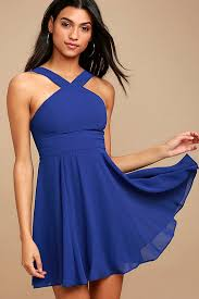 blue dress lovely royal blue dress halter dress skater dress bridesmaid