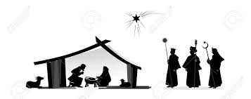 nativity play with silhouettes and baby jesus stock photo picture