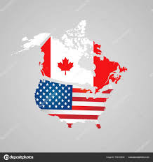 Country American Flag North American Country Set With Map Pointers Canada Usa Map