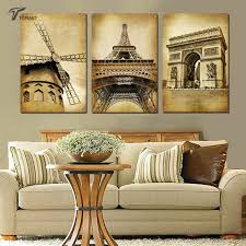 home decor paintings 3 panel classic paris oil painting on canvas