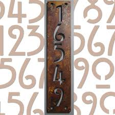 custom mission style vertical house numbers in rusted steel 5 digit