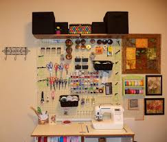cool pegboard craft and sewing room storage organization feat wall