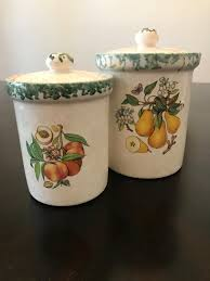 vintage himark ceramic canisters peach u0026 pear made in italy by