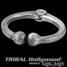 sterling silver ring bracelet images Bull nose ring bracelet silver mens cuff by king baby jpg