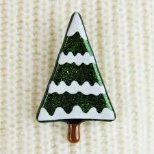 handmade glass snowy tree brooch by irena smith